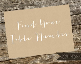 Find Your Table Number Wedding Sign - Sand 5x7 - Printable