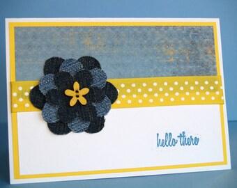 Handmade Denim Flower Card