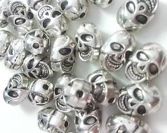 25 pcs Antique Silver Skull Beads  Sugar Skull  Beads ( C2049  )