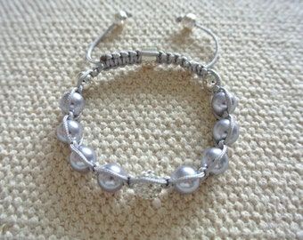 Luxury Handmade Shamballa Bracelet Silver Pearls and Crystak Beads