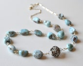 Gemstone necklace. Larimar and sterling silver necklace