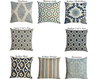 Blue and Neutral Linen Decorative Throw Zipper Pillow Covers 8 Fabrics and 7 Sizes-84BD