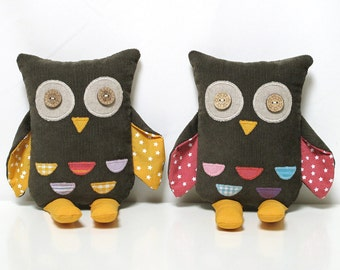 Owl Toy - Organic and Fair Trade // stuffed toys, animal, toddler gift, owl doll, organic plush, buckwheat, fairtrade, bird, natural gift