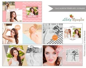 INSTANT DOWNLOAD 12x12 Senior Album Photoshop Template - A020