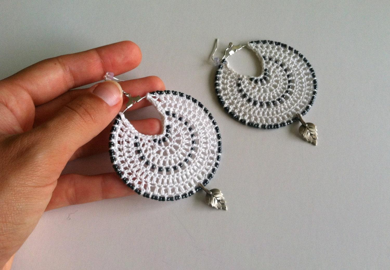 White Crochet Doily Earrings Leaf Pattern Bohemian Jewelry