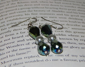 Iridescent Green Teardrop and Gray Pearl Earrings