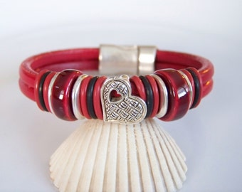SALE Distressed Red Leather Heart Bracelet - Item R324