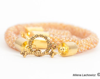 Bead crochet Rope and earrings, beaded bracelet, rope bracelet, earrings