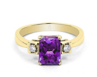 18ct Yellow Gold Amethyst & Diamond Engagement Ring 0.1ct 2.5mm