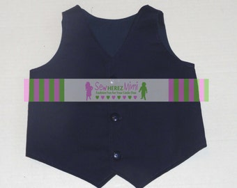 NAVY BLUE Vest Infant Toddler Boys Sizes Infant, Toddler, Child Youth with Lining Options