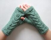 Knitted of CASHMERE, ANGORA and MERINO wool. Multicolor ( green, gray ) fingerless gloves, wrist warmers, fingerless mittens. Handmade.