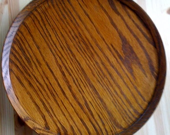 Vintage Rustic  Rotating Mid Century Oak Lazy Susan Cake Pie Stand