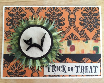 Quilled Black Cat Halloween Card