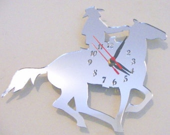 Cowboy on Horse Clock Mirror - 2 Sizes Available
