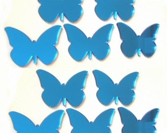 Blue Butterfly Mirrors - Packs of 10 Crafting and Decoration size plus a single larger Blue Butterfly