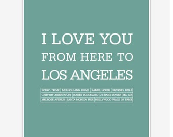 Los Angeles Art Prints and Posters Poster I love you from here to Los Angeles Digital print 8 x 10
