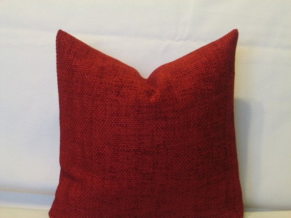 Burgundy Colored Throw Pillows : Burgundy dark red decorative chenille luxury by Irenaworks