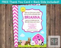 Farm Animals Birthday Invitation, Petting Zoo Birthday Invitation, Pink Farm Invitation, Free Thank You Card, Front and Back, Farm Chevron