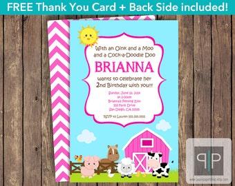 Farm Animals Birthday Invitation, Farm Girl Birthday Invite, Petting Zoo Birthday Invitation, Pink Farm Invitation, Free Farm Thank You Card