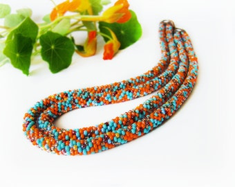 Multicolored double beaded necklace Seed Bead Crochet Rope Necklace Colorful Double bead rope Bright confetti necklace Chic country jewelry