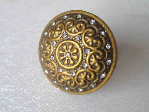 Antique Brass Crystal Knobs Glass Dresser Knob Drawer Knobs