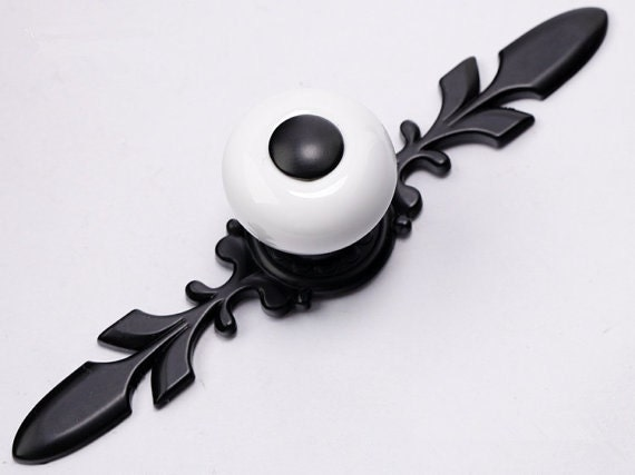 French Country Black White Dresser Drawer Knobs Handles