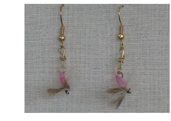 Pink Cahill Fly Fishing Dangle Earrings