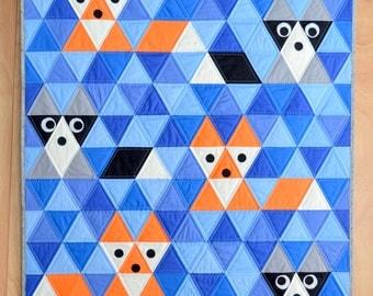 Fox & Friends Baby Quilt Pattern, PDF, Instant Download, Fox, Raccoon, Triangle, KONA Solids, modern patchwork, blue, orange, black, grey.