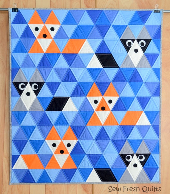 Fox & Friends Baby Quilt Pattern PDF Instant Download Fox : blue and orange quilt - Adamdwight.com