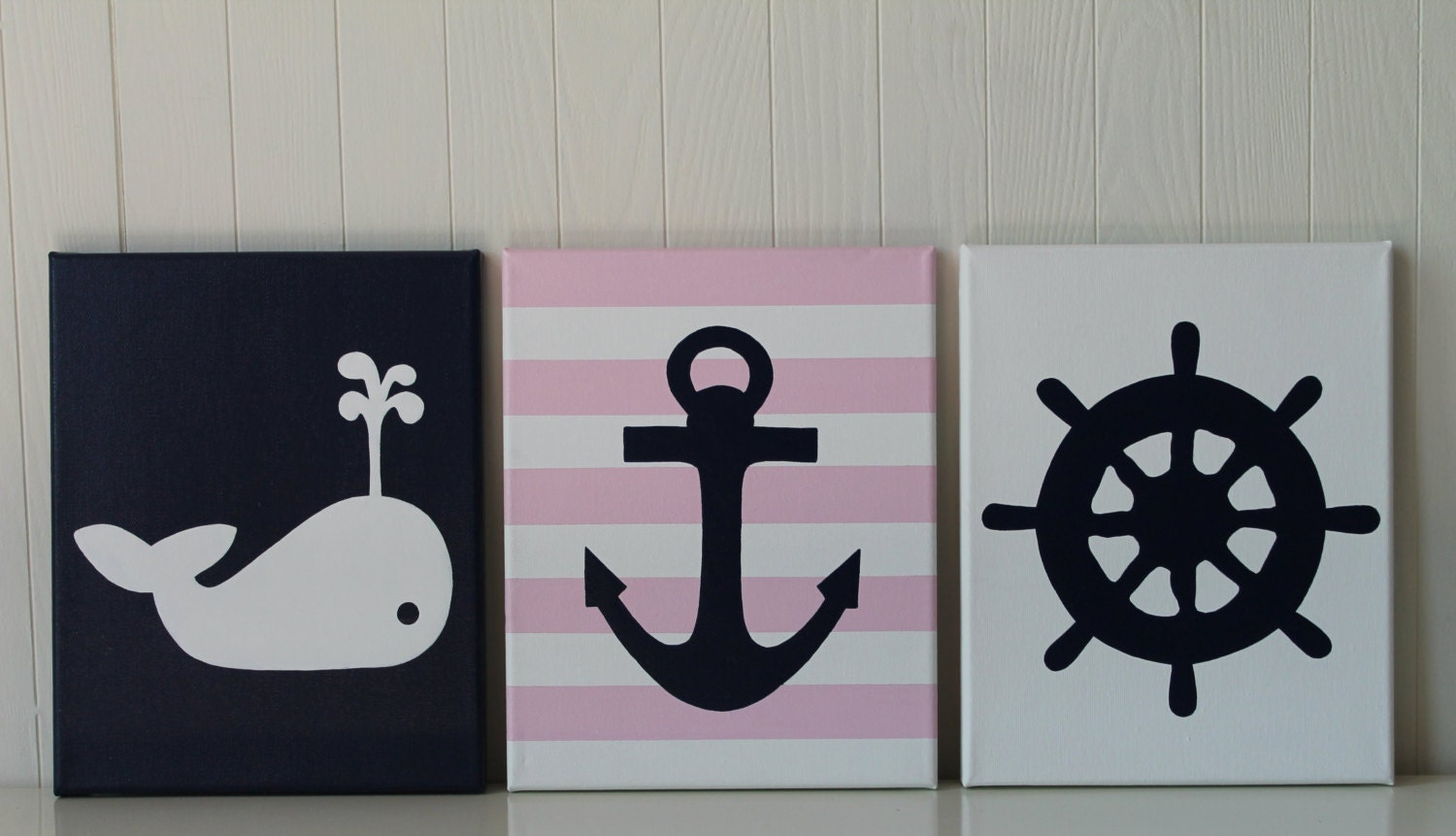 Baby girl nautical nursery decor whale nursery painting anchor for Anchor decoration