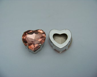 Peach 27mm Sew On Cab with silver metal bezel  Cabs2/3043