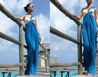 Color block Blue white one shoulder sleevless Beach evening long maxi dress all size