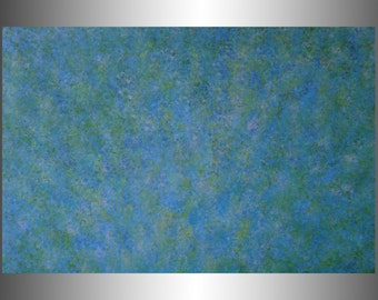 "Blue Leaves.  Original Abstract Acrylic Painting on canvas. 24"" x 36"" x 0.75""  Colors-blues, greens, purples."