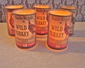 Vintage Frosted Graphic Candle. Wild Turkey. Kentucky Burboun Whiskey. Alcohol Advertising. Man Cave. Cabin. Five Available.