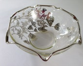 Sterling Silver Overlay Poppy Flower Crimped Bowl