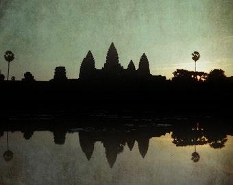 Angkor Wat blue Sunrise print, Buddhist temple, Cambodia Indochina sunrise, zen art, turquoise blue calm