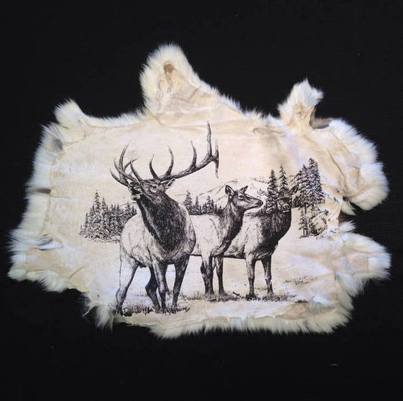 "Rabbit Pelt With ""Elk"" Image Screen Printed One Side. The"