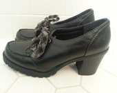 Black Lace Up Chunky Loafers Women's size 7M