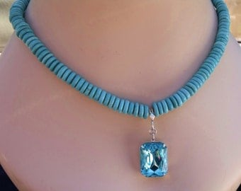 Turquoise Hieshi Necklace With Detachable Vintage Rhinestone Pendant