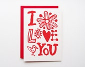 valentine day card, I love you card, 100% recycled paper
