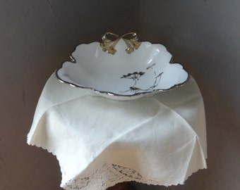 Vintage JHR Hutschenreuther Hand Painted Bow Bowl with Luster Paint-1890-1910