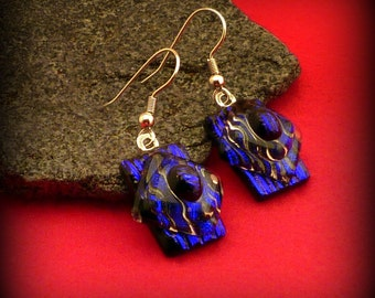 Fused Dichroic Glass Earrings Deep Blue Textured Silver French Wire