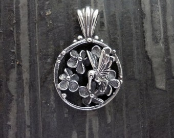 Summer, Flowers and a Hummingbird. Pretty Handmade Pendant