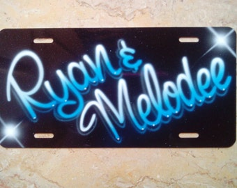 Name Customizable License Plate with your Name Galatic Blue Sky