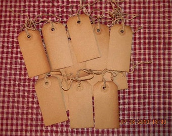 100 Medium blank coffee stained primitive hang tags lot with string