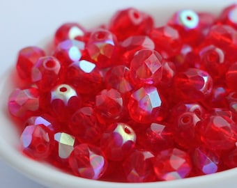 6mm Light Red AB Faceted Glass (x30) Czech Fire Polished Round Beads Light Siam Ruby Rainbow