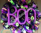 BOO Halloween Deco Mesh Wreath with spiders, RAZ Imports