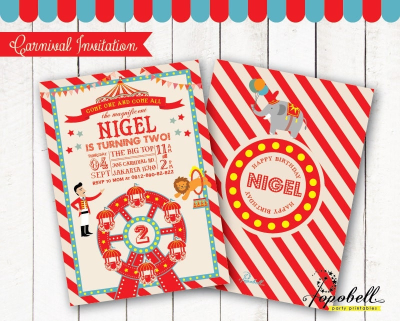 zirkus geburtstagseinladung zum zirkus. karneval einladung, Einladungen