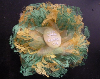 DARLING handmade lace large flower barette with keep calm and carry on cameo center