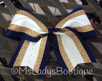 Navy White Gold Rhinestone Cheer Bow - #186672088